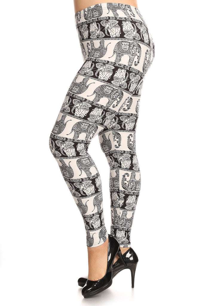 Plus Size Printed Knit Legging With Elastic Waistband