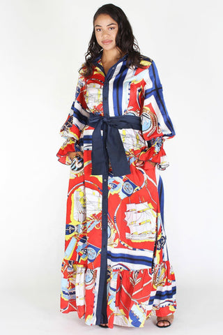 Plus Size Designer Queen Ribbon Tie Maxi Dress [PRE-ORDER 25% OFF]
