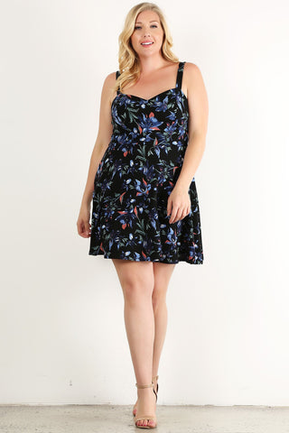 Plus Size Floral Painted, Open Back Sleeveless Short Dress