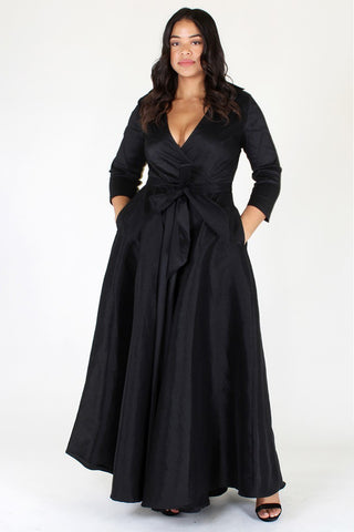 Plus Size Glamorous Deep V Neck Ribbon Tie Dress [PRE-ORDER 25% OFF]