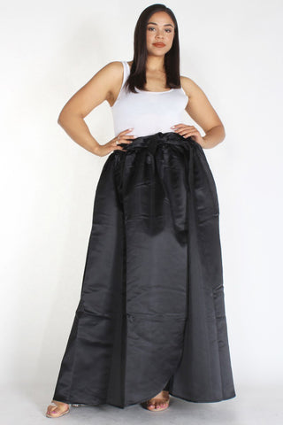 Plus Size Satin Silhouette Waist Tie Maxi Skirt Black