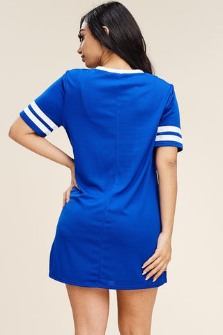 Plus Size Solid Sport Jersey Sequence Dress