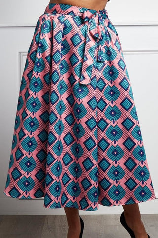Plus Size Geometric Pattern Pretty In Pink Maxi Skirt