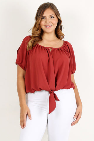 Plus Size Solid Relaxed Scoop Neck Top