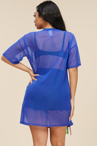Plus Size Solid Short Sleeve Mesh Tunic with Patch