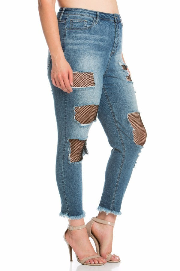 Plus Size Blue Power Stretch Denim Fishnet Crop Girlfriend Jeans
