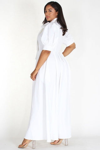 Plus Size Designer Neck Tied Bubble Sleeve Maxi Dress