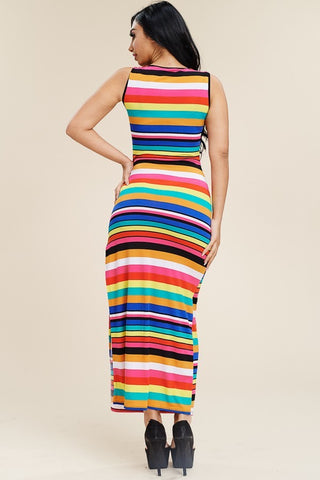 Plus Size Sleeveless Colorful Stripe Maxi Slit Dress