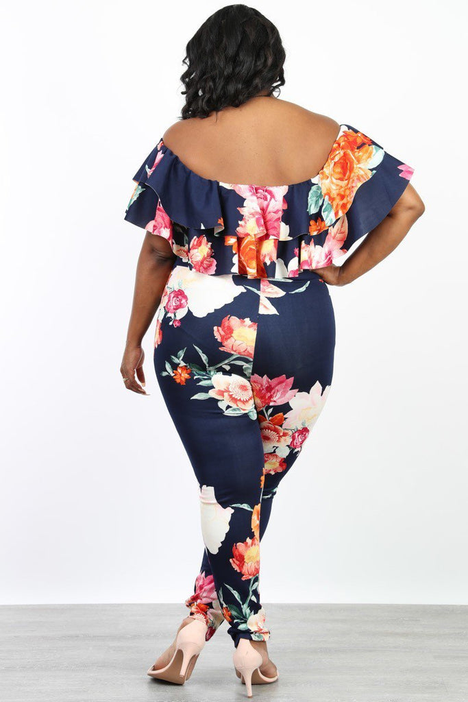 Plus Size Floral Print Off Shoulder Ruffle Jumpsuit