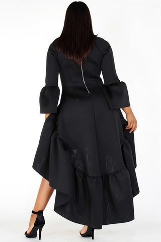 ... Plus Size Glam Hi-Lo Maxi Bell Sleeve Ruffle Dress 4db020d5c