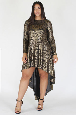 Plus Size Designer Gold Floral Hi Lo Cocktail Dress [PRE-ORDER 25% OFF]