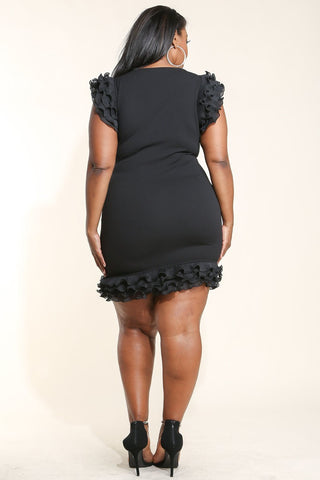 Plus Size Strappy Front Ruffle Accent Dress