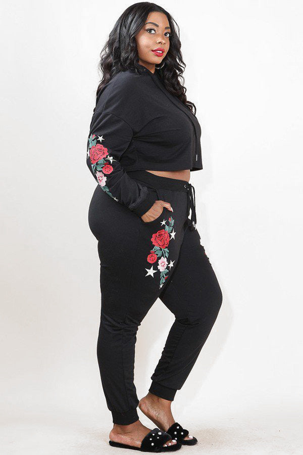 96ae45821bb Plus Size Embroidered Rose Tattoo Cozy Hoodie Set