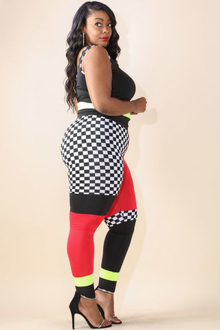 Plus Size Hyper Trim Checker Colorblock Top Bottom Set