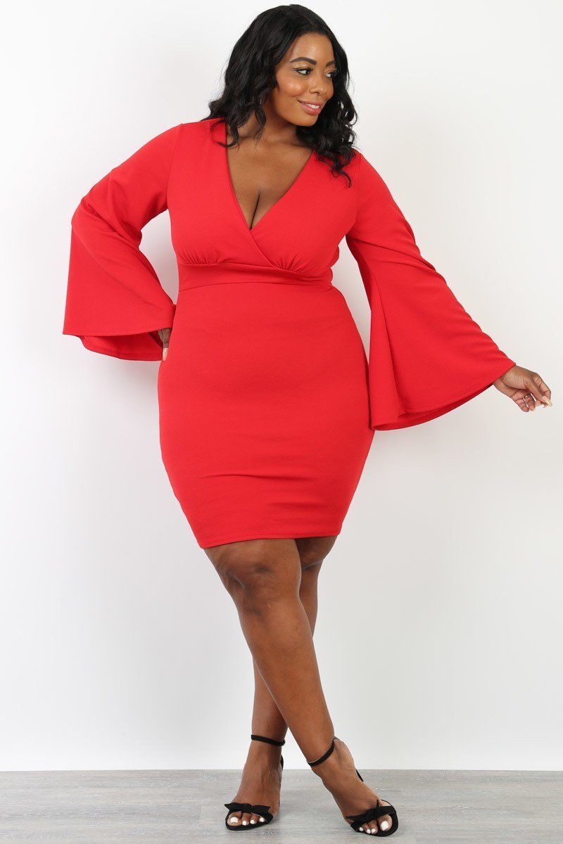 Plus Size Belle Sleeve Bodycon Surplice Dress