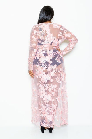 Plus Size Gorgeous See Through Floral Open Slit Maxi Dress