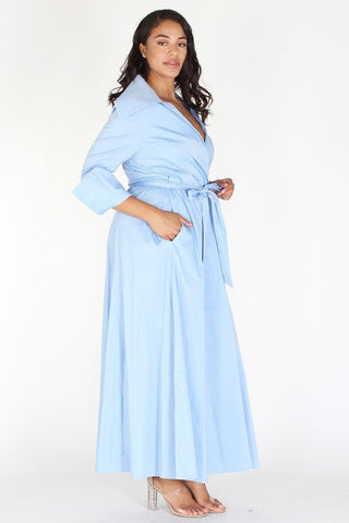 Plus Size The Weekend Chic Wrap Waist Tie Maxi Dress  [PRE-ORDER 25% OFF]