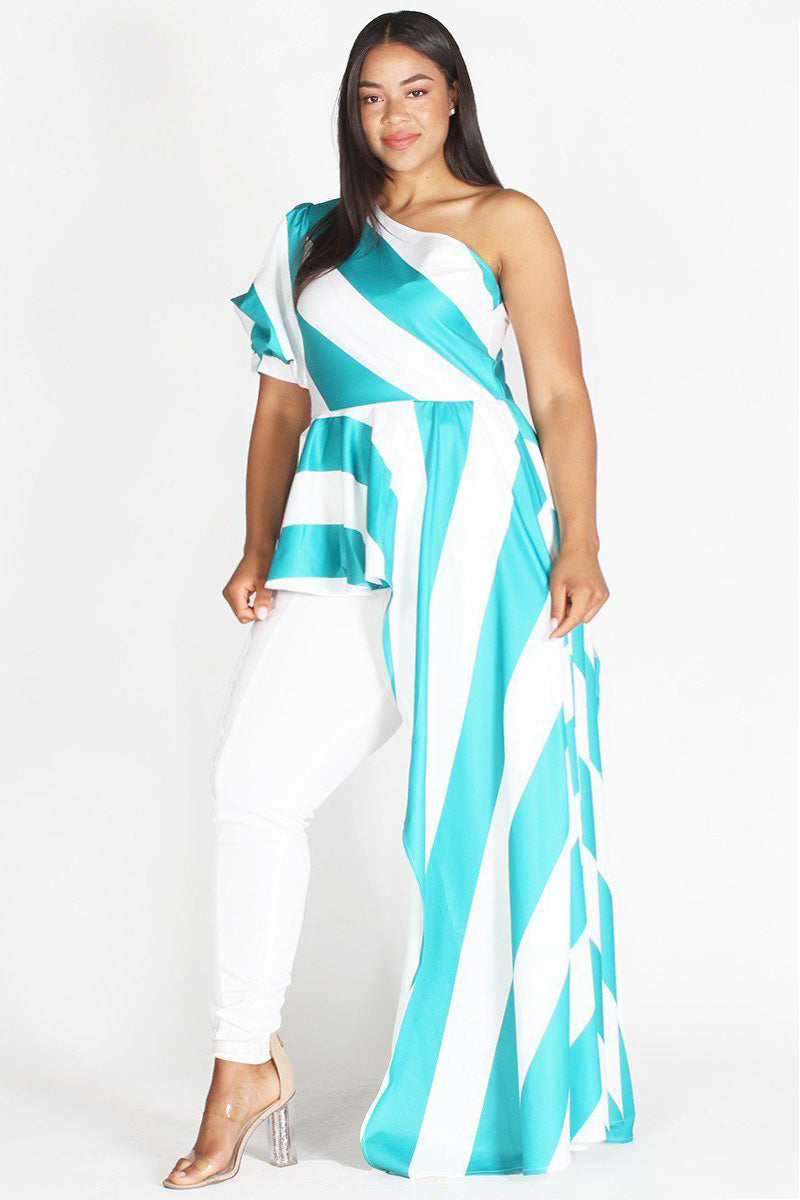 Plus Size One Shoulder Glam Puff Sleeve Stripe Top Teal
