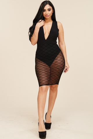 Plus Size Sleeveless Burnout Mesh Mini Dress