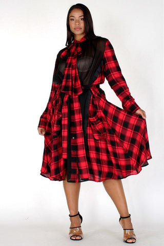 Plus Size See Through Mesh Contrast Plaid Button Up Dress
