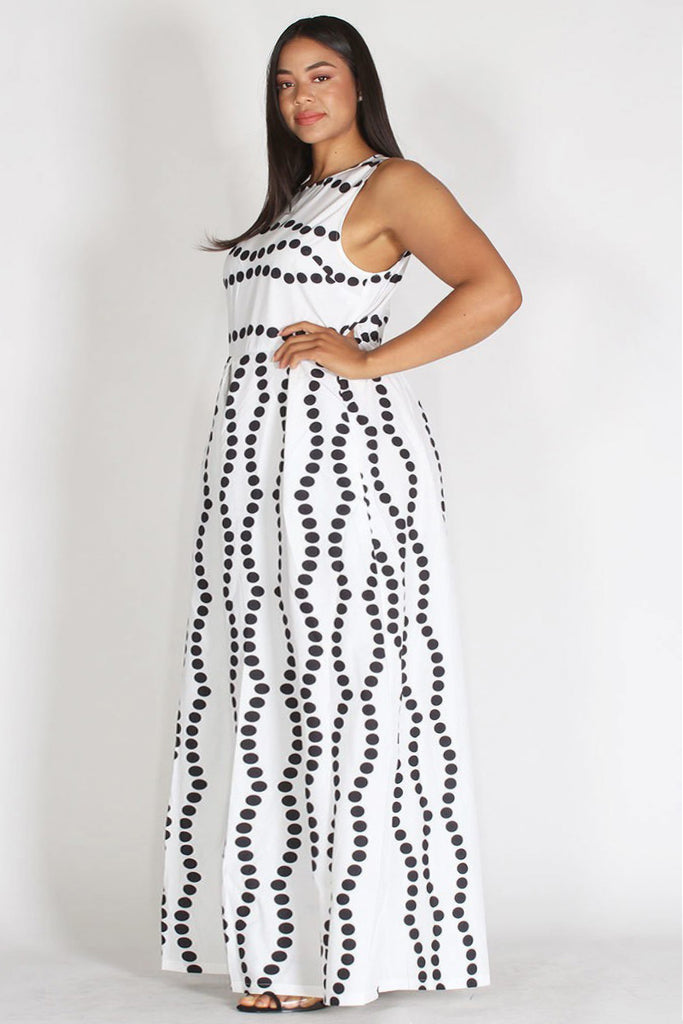 Plus Size Polka Dot Sleeveless Relax Fit Maxi Jumpsuit