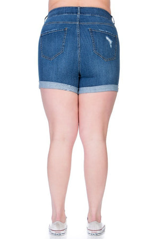 Plus Size Comfortable Mid Rise Stretch-Cotton Fit Denim Shorts