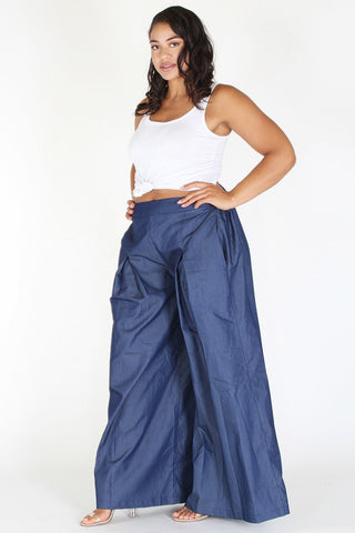 Plus Size Beautiful Flow Wide Leg Denim Fashion Pants [PRE-ORDER 25% OFF]