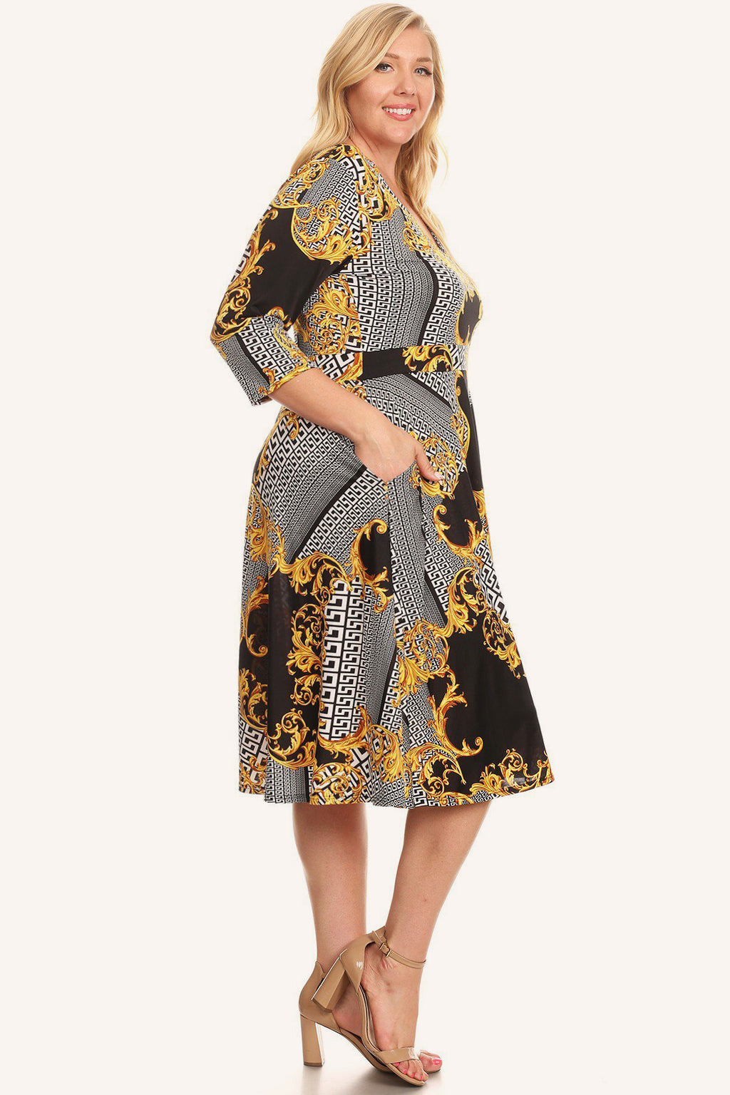 Plus Size Designer Print Fit Flare V-Neck Dress