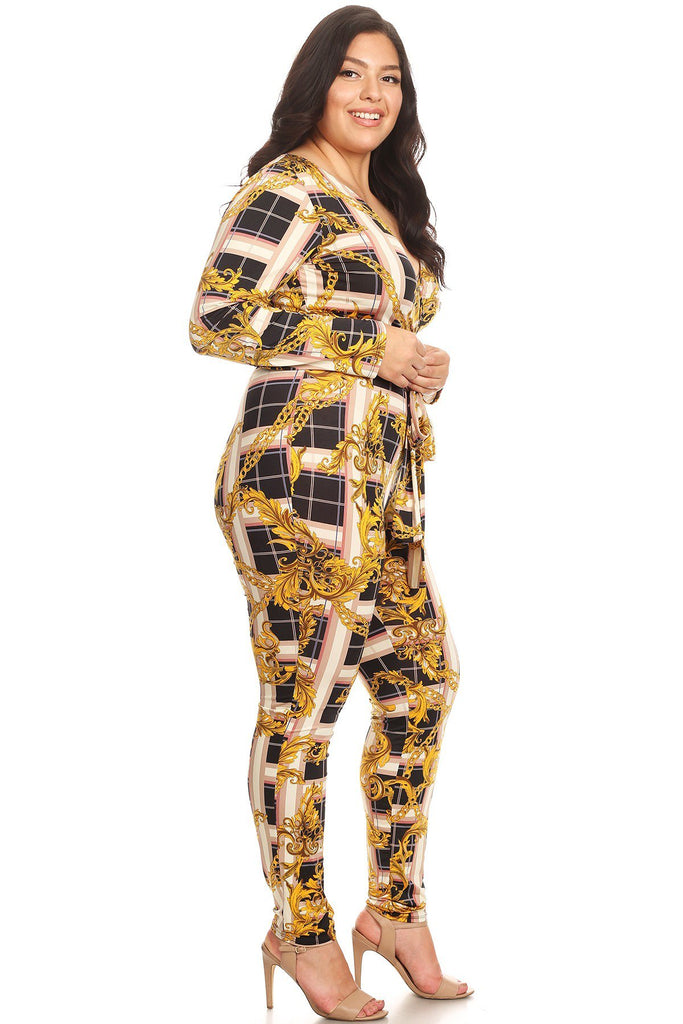 Plus Size Long Sleeves Plaid Printed Jumpsuit
