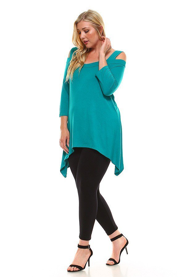 Plus Size Asymmetric Hem Open Shoulder Top