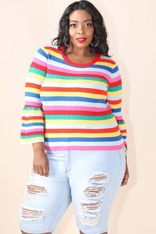 Plus Size Multi Stripe Knitted Bell Sleeve Top