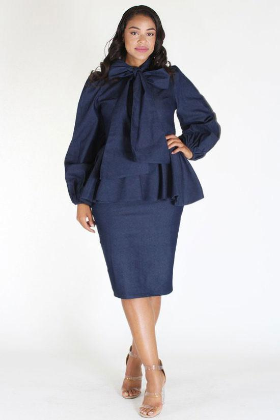 Plus Size Denim Ruffle Bow Long Sleeve Dress Plussizefix