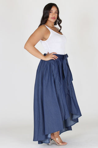 Plus Size Ribbon Tie Denim Drape Skirt [PRE-ORDER 25% OFF]