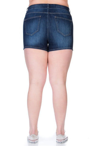 Plus Size Comfortable And Belt Loops Dark Denim Shorts