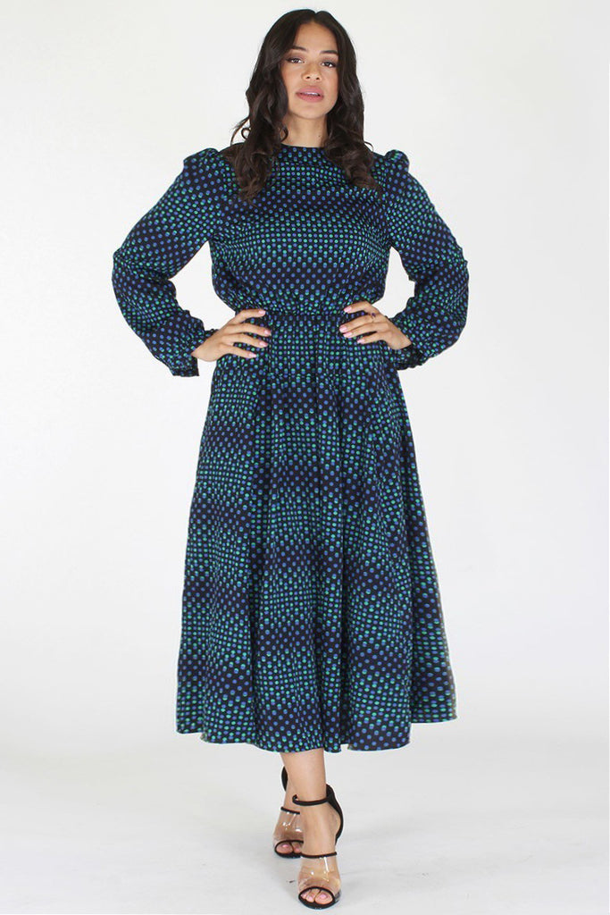 Plus Size Flowing Pattern Long Sleeve Maxi Dress [PRE-ORDER 25% OFF ...