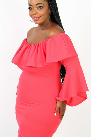 Plus Size Sexy Ruffle Off Shoulder Bell Sleeve Dress