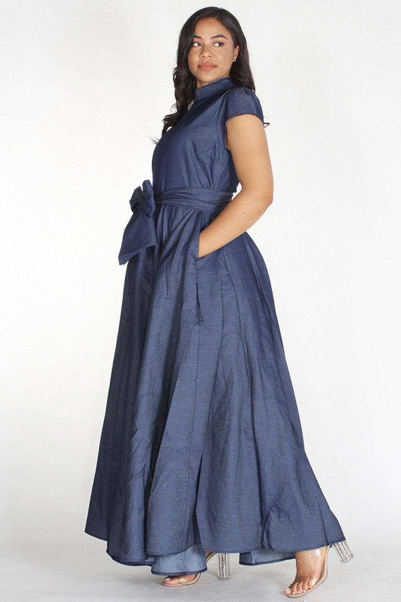 Plus Size Denim Cap Sleeve Waist Tie Dress