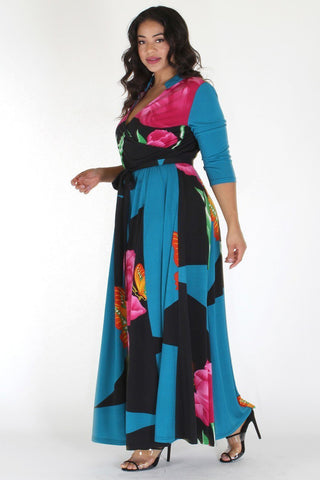 Plus Size Butterfly Tropical Ribbon Tie Maxi Dress [PRE-ORDER 25% OFF]
