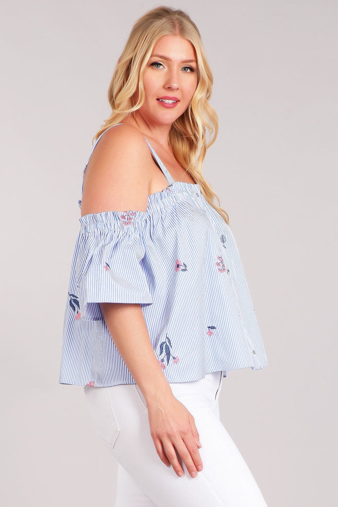 Plus Size Striped, Waist length And A Square Neckline Top