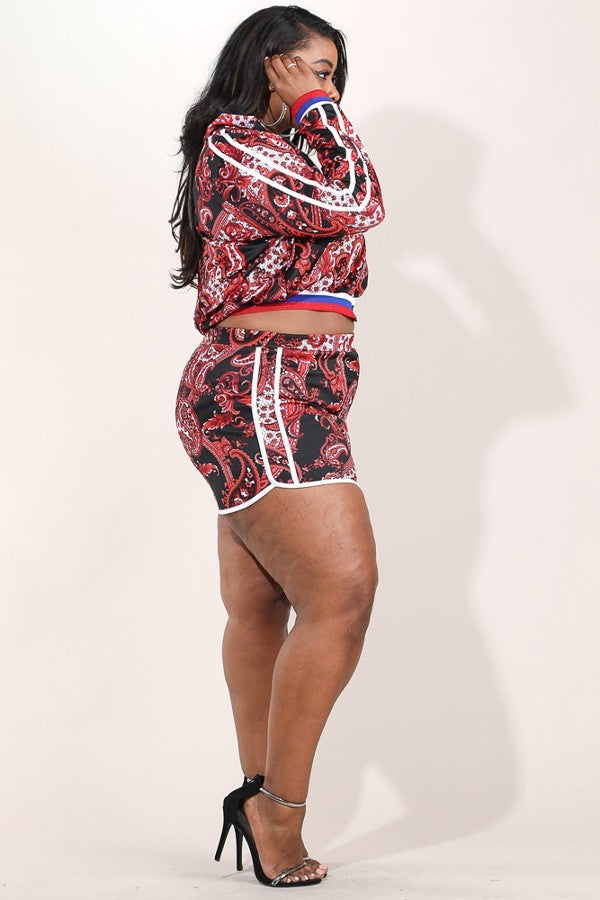 Plus SIze Paisley Print Comfortable Zip Up Top and Bottom Set
