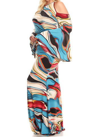 Plus Size Abstract Colorful Open Shoulder Maxi Dress