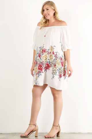 Plus Size Floral Painted, Off Shoulder Short Dress