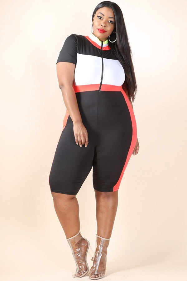 Plus Size Cool Ride Colorblocked Bicycle jumpsuit