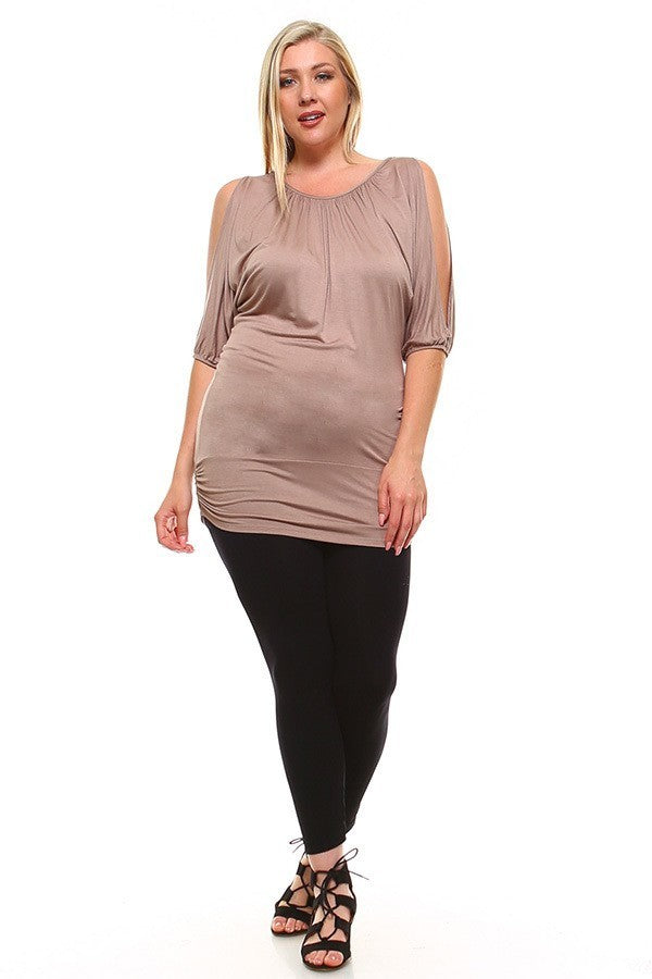 Plus Size Cutout Sleeves Elastic Arm Runched Top