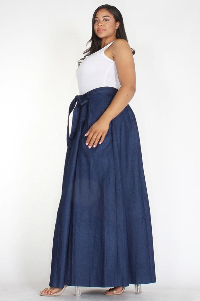 Plus Size Denim Elastic Waist Pocketed Maxi Skirt