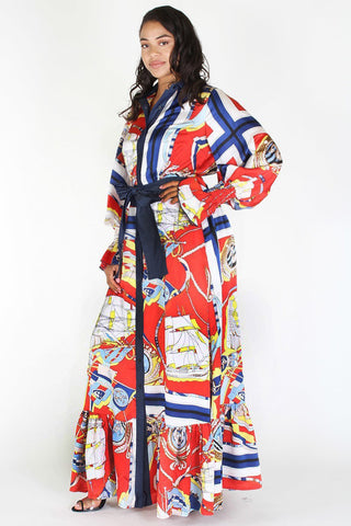 Plus Size Designer Queen Ribbon Tie Maxi Dress