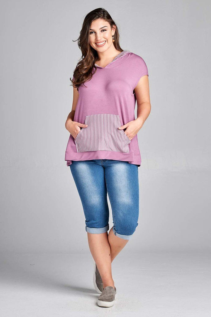 Plus Size French Terry Hoodie Front Stipe Pocket Top