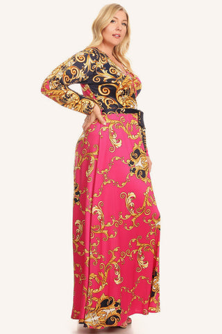 Plus Size Designer Print Waist Tie Wrap Maxi Dress