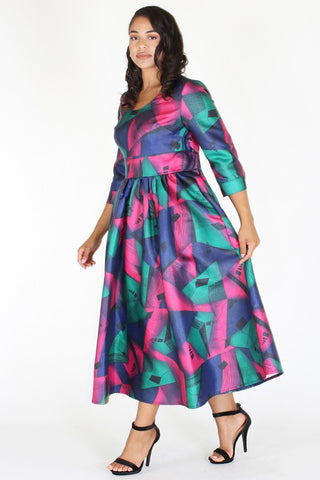 Plus Size Gorgeous Geo Flare Cocktail Dress [PRE-ORDER 25% OFF]
