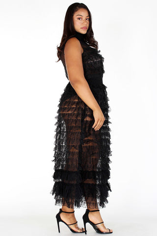 Plus Size See Silhouette Mesh Sheer Ruffle Tiered Dress